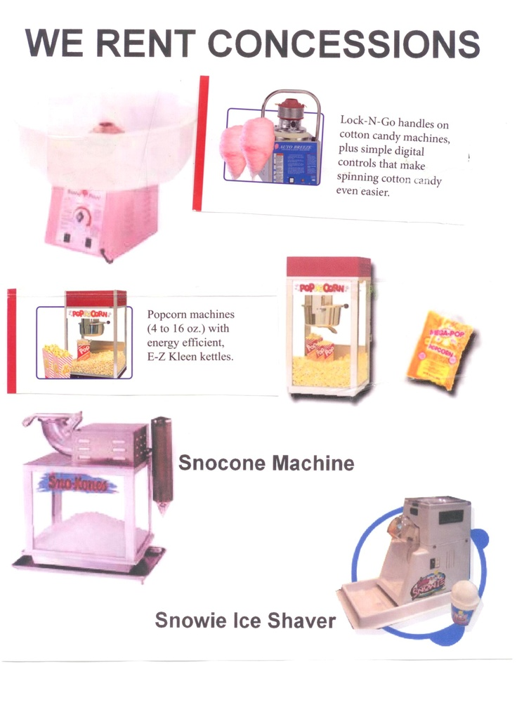 All Supplies Available As Well For Each Concession Rental Space Walk Of Longview 297 9228 Www Herecomesfun C Cotton Candy Machines Popcorn Machine Longview