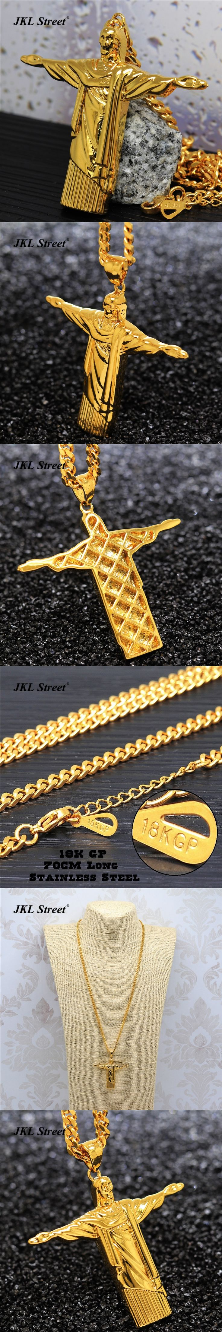 "Mens Stainless Steel Gold Christ The Redeemer Jesus Piece Pendant Hip Hop 27.5"" Cuban Chain Necklace JL2109"