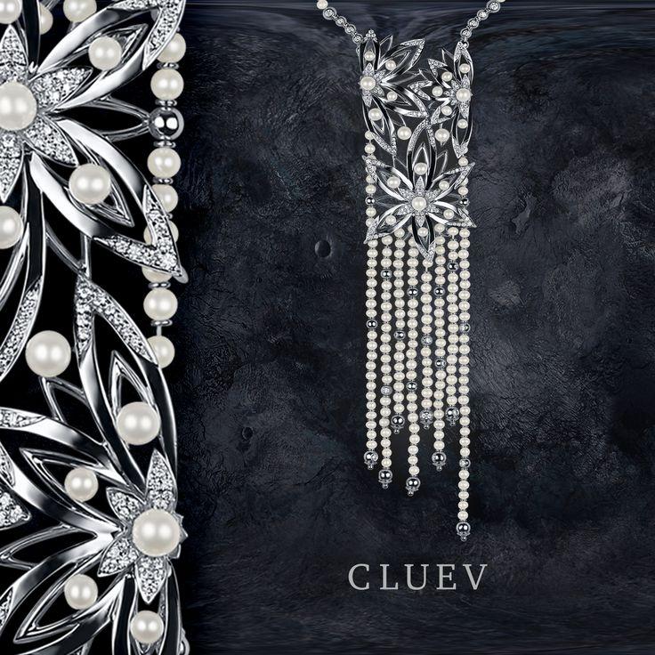 """Колье """" Бриллиантовое кружево"""" соткано из тончайших жемчужных нитей, сатинового золота и самых желанных драгоценных камней. #Cluev #Jewellery #CluevJewellery #diamond #luxe #бриллианты #жемчуг"""