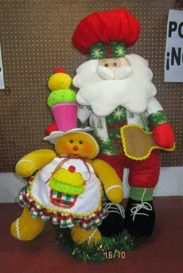 GINGER CON SANTA  Y UN HELADO SOBRE SU CABEZA Y DELANTAL DE CUPCAKE  -   FELTRO MOLDES ARTESANATO EM GERAL: Dezembro 2014