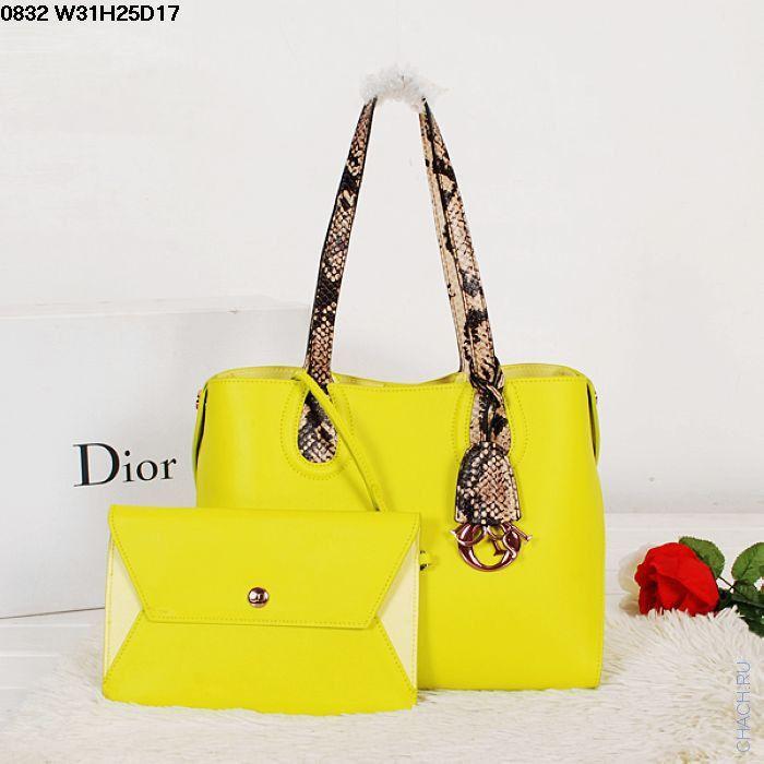 Женская сумка Christian Dior кожаная желтая с ручками под питона, с вкладным клатчем на ремешке