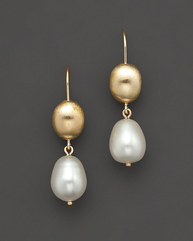 Cultured Freshwater Pearl Drop Earrings in 14K Yellow Gold, 11mm | Bloomingdale's