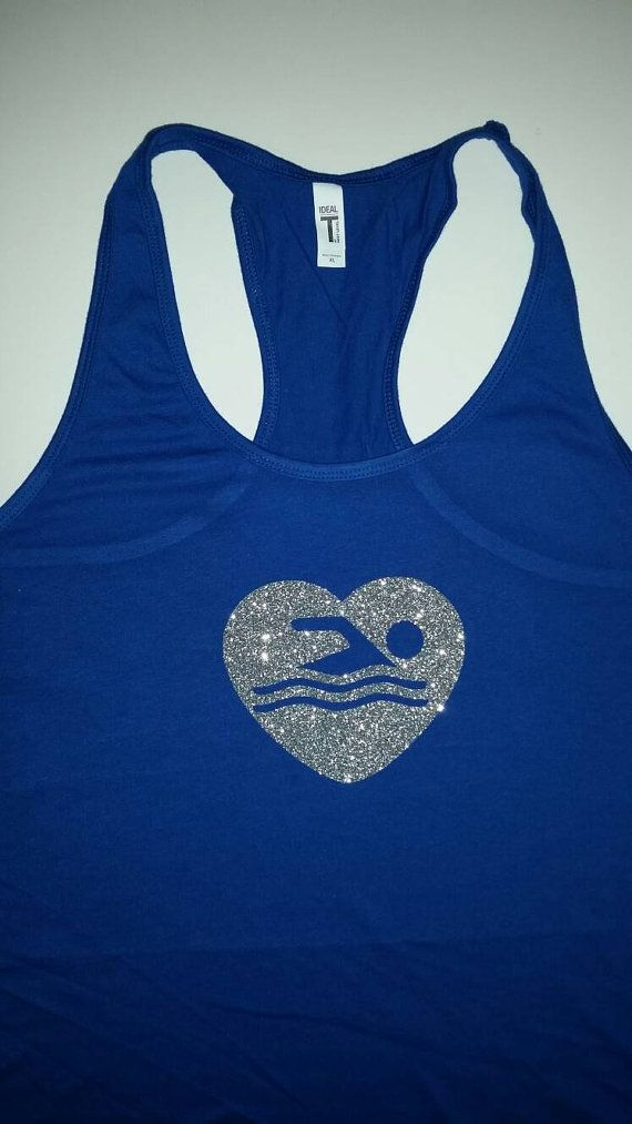 Swim love glitter tank funny t-shirt by HeatherAyletteDesign