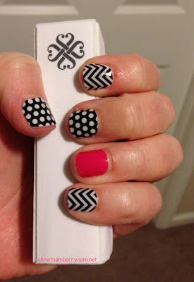 Hands-down favorite #Jamberry manicure in black and white polka dots, black and white chevron, and haute pink. Jamberry nail wraps are made of vinyl, chemical free, and set with the heat from your blow dryer. Too easy and too cute!