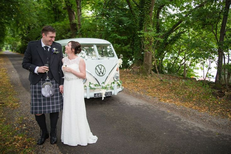 Banchory Lodge Wedding. Bride groom VW van woodland portraits. By Fotomaki Photography.