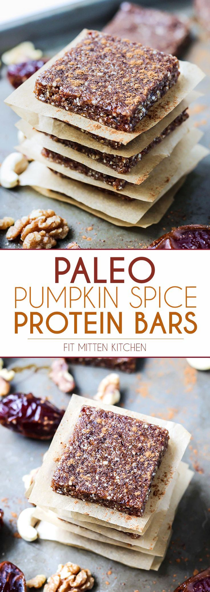 Simple bars FTW!   Pumpkin Spice Paleo Protein Bars use a simple blend of dates, nuts, and loads of pumpkin pie spice and cinnamon for extra flavor. Using collagen for protein plus added health benefits!