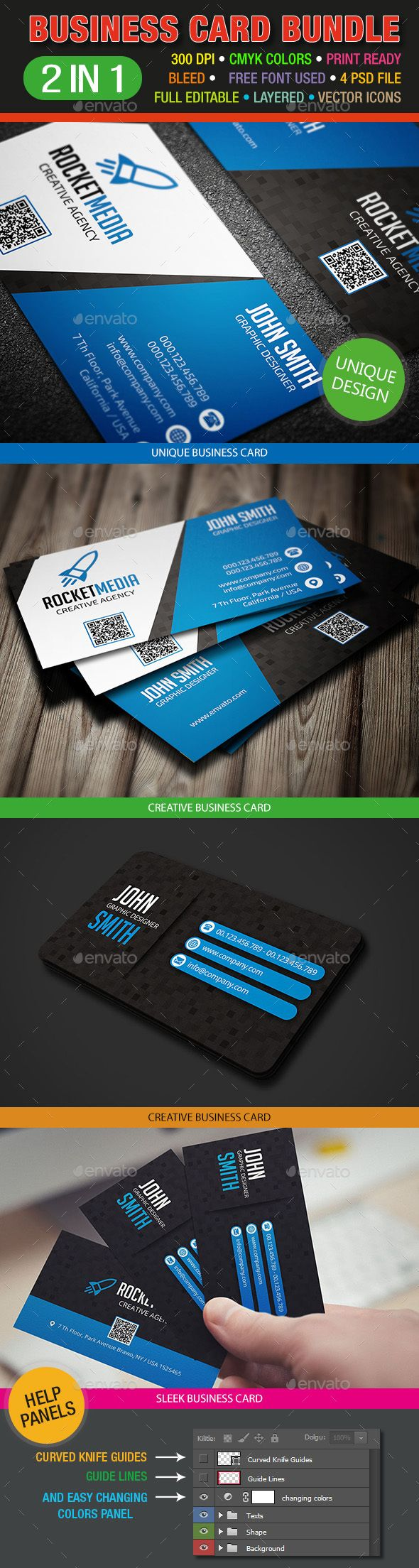 9 best creative business card images on pinterest business card 2 in 1 elegant business card bundle reheart Gallery