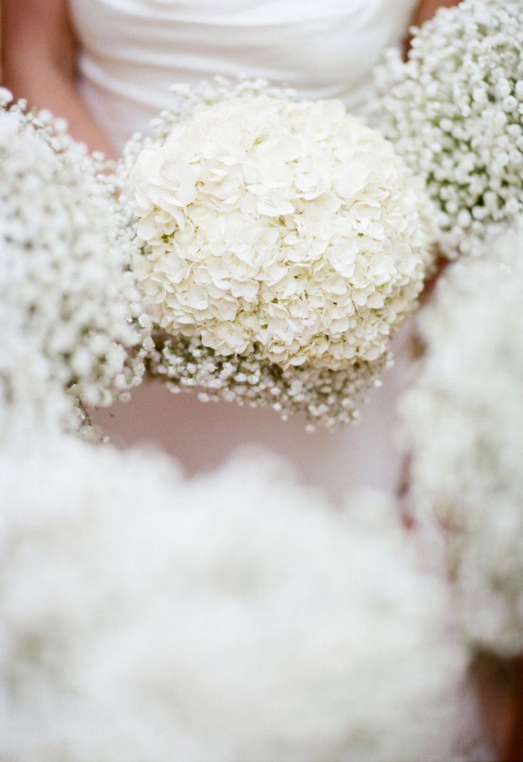 White Hydrangeas for Bride's Bouquet - Baby's Breath Bouquet for Bridesmaids. So Pretty! See more of the wedding on SMP:  http://www.StyleMePretty.com/little-black-book-blog/2014/02/25/garden-wedding-at-hans-fahden-vineyards/ Elisabeth Millay Photography