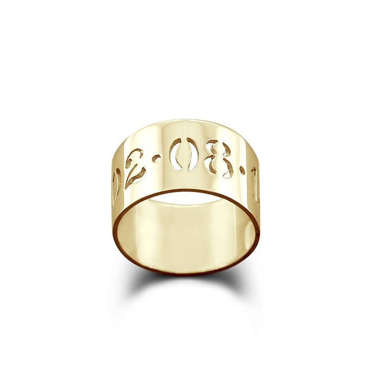 10mm 14k Gold Cut Out Date Ring (available in sizes 6-9)