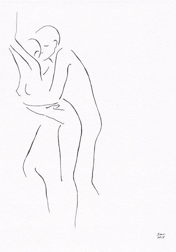 Black and white original ink drawing. Erotic bedroom art. by siret