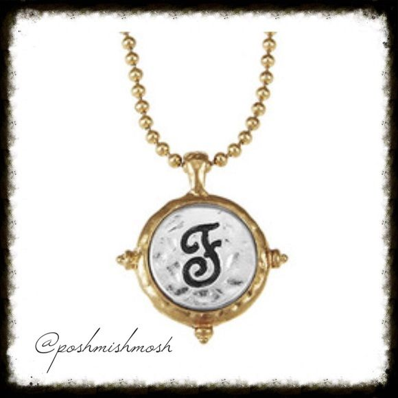 """$9 Items are:  2 for $10⚡️3 for $13⚡️4 for $16 Artisan Hammered F Monogram Necklace. Two-tone artisan hammered monogram initial pendant on a trendy ball chain create this must-have necklace.  Approx. length is 15"""" + 3 inch extender with lobster clasp closure. All $9 Items are: ❤️2 for $10 ❤️3 for $13 ❤️4 for $16.  Let me know which items you want and I will create a custom bundle for you. Poshmark's automated bundle feature will not generate the discount for this particular promotion…"""