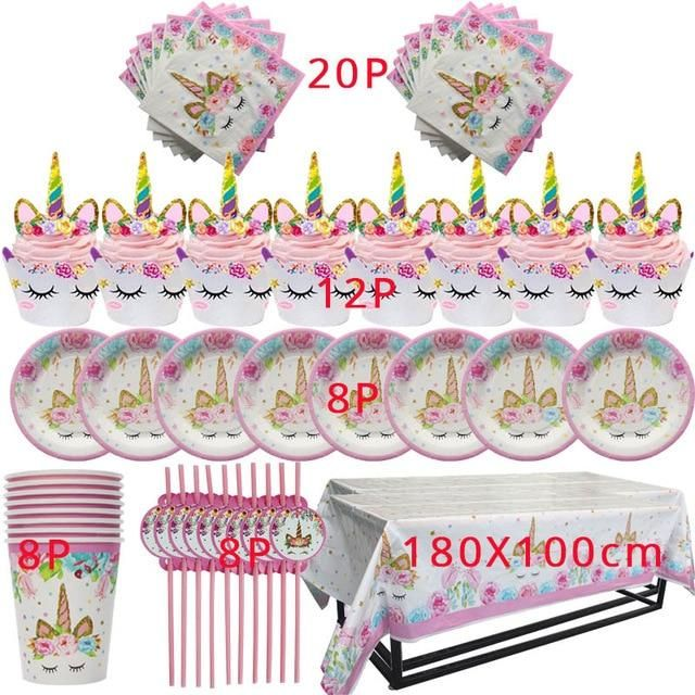 Unicorn Party Supplies Set Decorations Birthday Gifts for Girls Kids Birthday