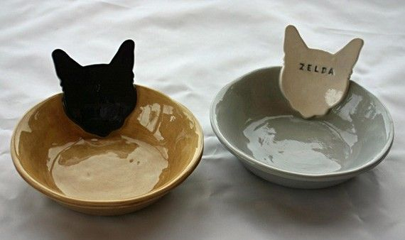 Personalized Kitty Cat Bowl Dish  6 inches  by sunshineceramics, $25.00