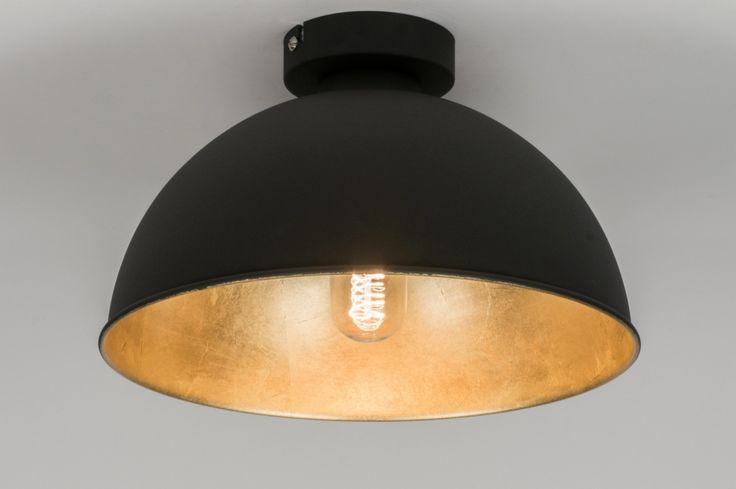 plafondlamp 10698: modern, metaal, zwart, mat