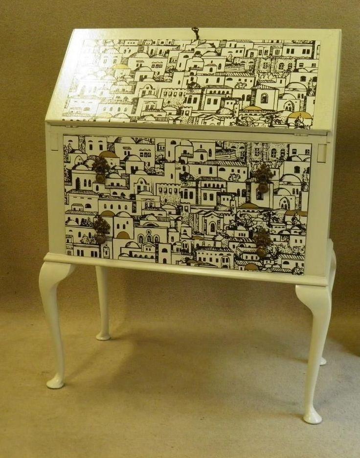 VINTAGE SHABBY CHIC , FORNASETTI DECOUPAGE BUREAU / DESK in Antiques, Antique Furniture, Bureaux | eBay