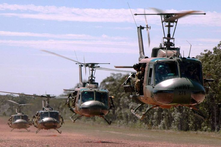 UH-1 Hueys in a Dust Off!