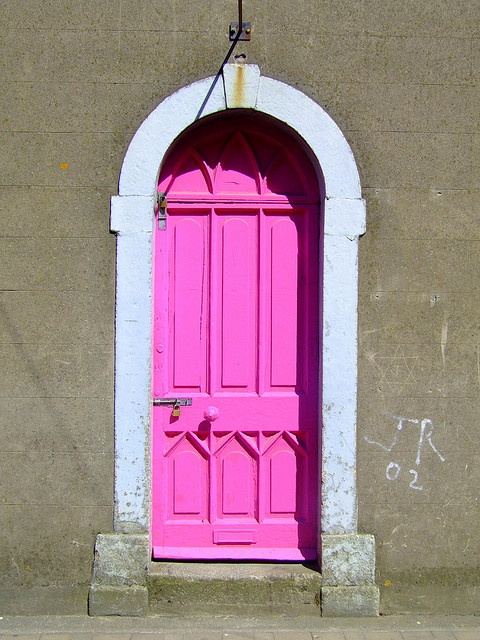 Bright Pink Door (I don't like to ugly locks though)
