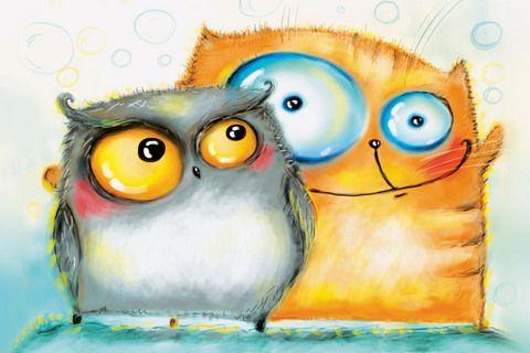 275 Сова и Кот. Рисунок Кати Чуйковой