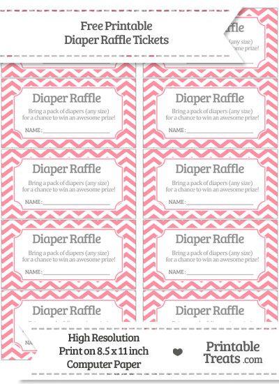Free Salmon Pink  Chevron Diaper Raffle Tickets