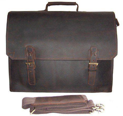 """Vintage Crazy horse Leather Briefcase Men business bag Men Leather laptop Briefcase Tote Handbag shoulder bag 14""""inch Laptop bag"""