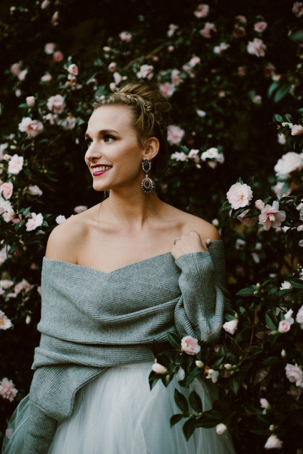 Covering up for your winter wedding doesn't mean you won't look hot  photo by Heather Burris Photography, wedding dress by Sweet Caroline Styles, sweater by Cupshe