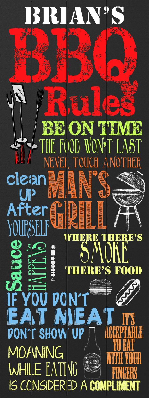 Custom BBQ Sign - Perfect for fathers day!  Personalize this chalkboard bbq grill sign for him however you want! Customized BBQ RULES Sign