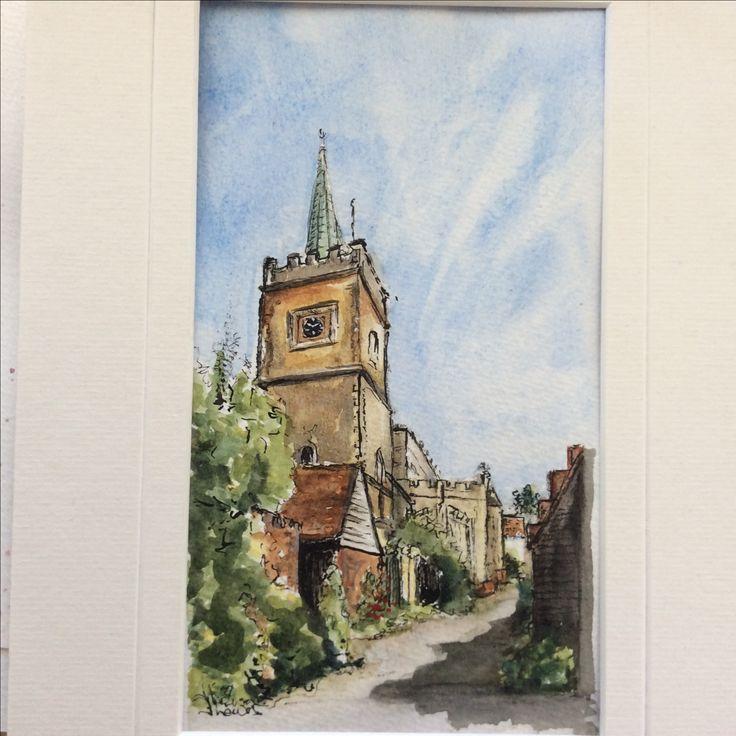 Nayland Church' watercolour by Jan Lewin