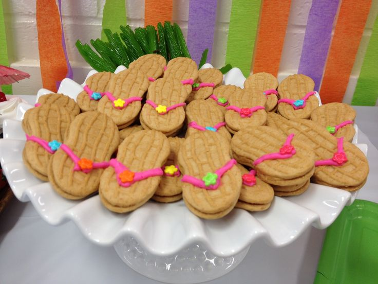 Nutter butter sandals on cake platter | Luau birthday ...