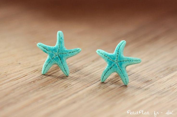 Starfish Post Earrings / Studs - Turquoise Mint