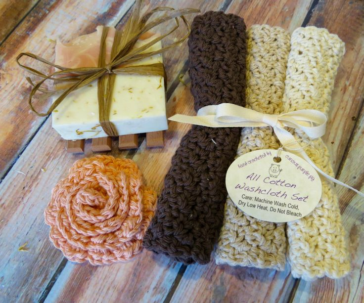 Bath Gift Sets - Homemade Soap - Crochet Washcloth - Homemade Gift Ideas - Gift for Mom - Christmas Gift Sets - Teacher Gift Ideas by SinkandSoak on Etsy