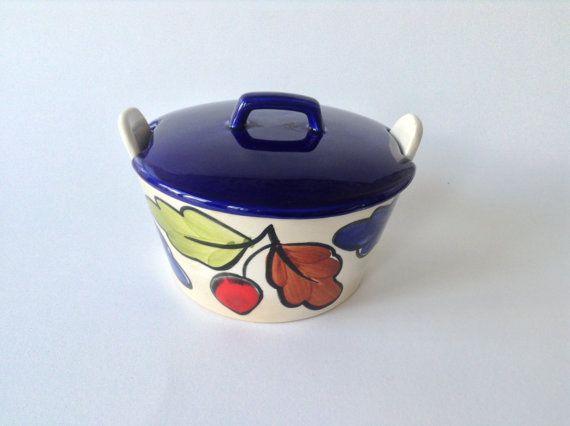 Zeller Keramik handpainted bowl with lid made in by Vintageterrier, €10.00