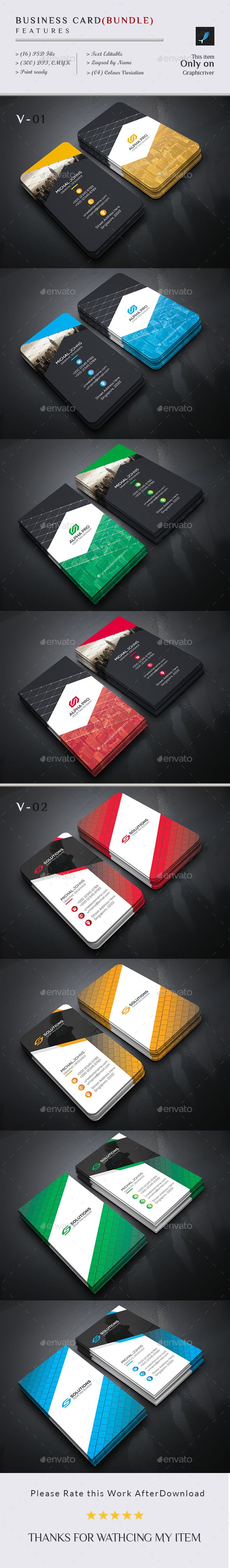 Business Card Template PSD Bundle 2 in 1