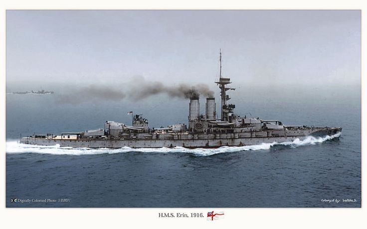 British battleship HMS Erin in 1916. A fine colourised photo. The primary armament was ten 13.5 in (342.9 mm) 45-calibre Mark VI guns, arranged in five double turrets all on the centre-line of the ship.