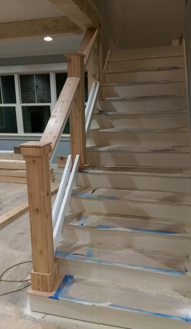 Stairway newel posts and railing. Next step will be to ...