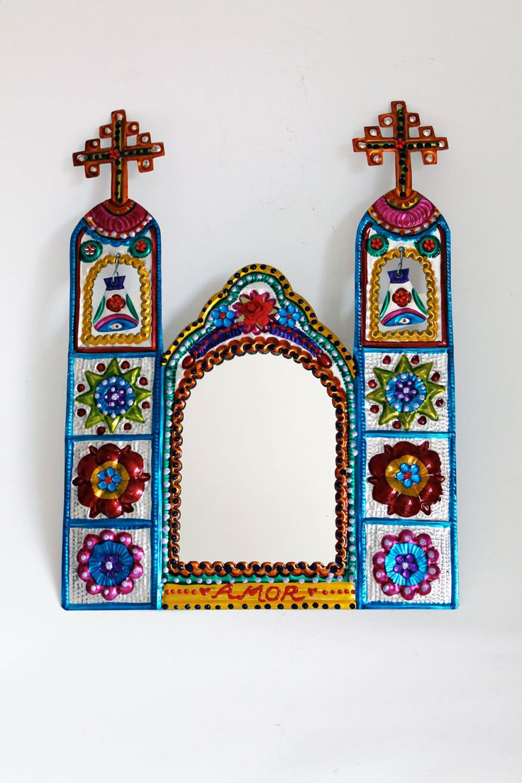 mexicantin wall art | Mexico church tin metal mirror / Mexican folk art ethnic / bright ...