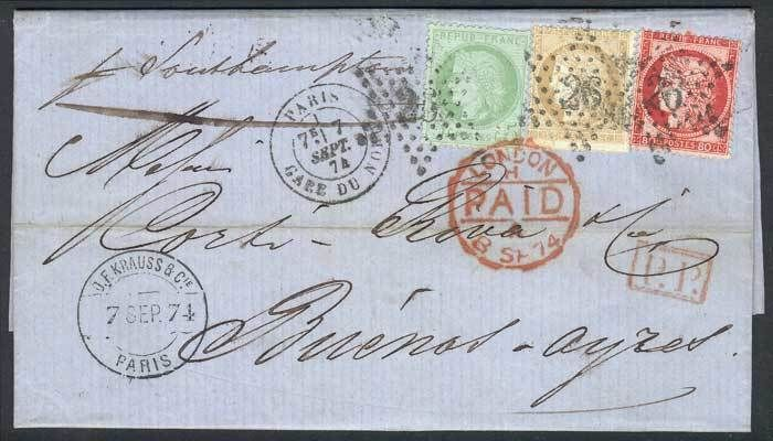 France, 7/SEP/1874 PARIS - ARGENTINA: complete folded letter franked by Yv.53 + 57 + 59, sent to Buenos Aires via England, spectacular 3-color postage, superb! Starting Price (11/2016): 335 EUR.