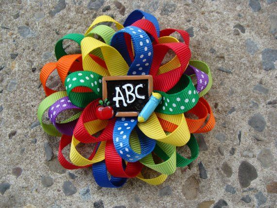 READY to SHIP School Hair Bow Round hair bow Go back to School Loopy Hair Bow multicolor hair bow ABC hair bow school hair clip medium hair