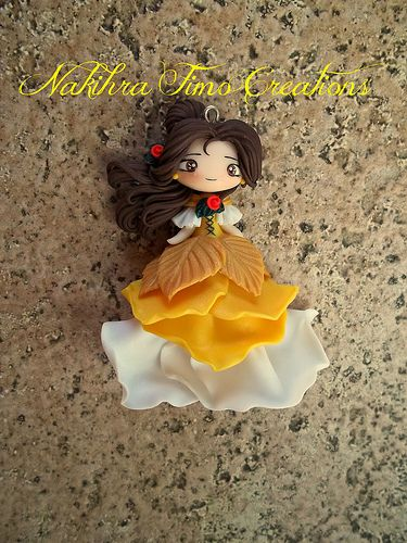 Polymer Clay Chibi Belle from Beauty and the Beast Pendant Charm