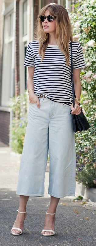 We're loving Christine R in these culottes with a classic stripy tee and white heels!  Trousers: COS, Top: COS, Heels: Zara