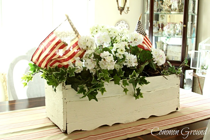 Common Ground: Little FlagsAmericana Flower Arrangements, Red White Blu, American Decor, Windows Boxes, Old Windows, 4Th Of July, Common Ground, Planters Boxes, Flower Boxes