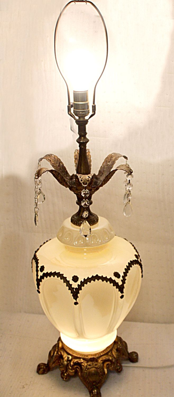 Vintage crystal table lamp - Vintage Ornate Opalescent Glass Hollywood Regency Table Lamp Lead Crystal Tear Drops So
