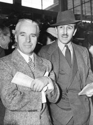 Charles Chaplin and Walt Disney at the race track, 1939