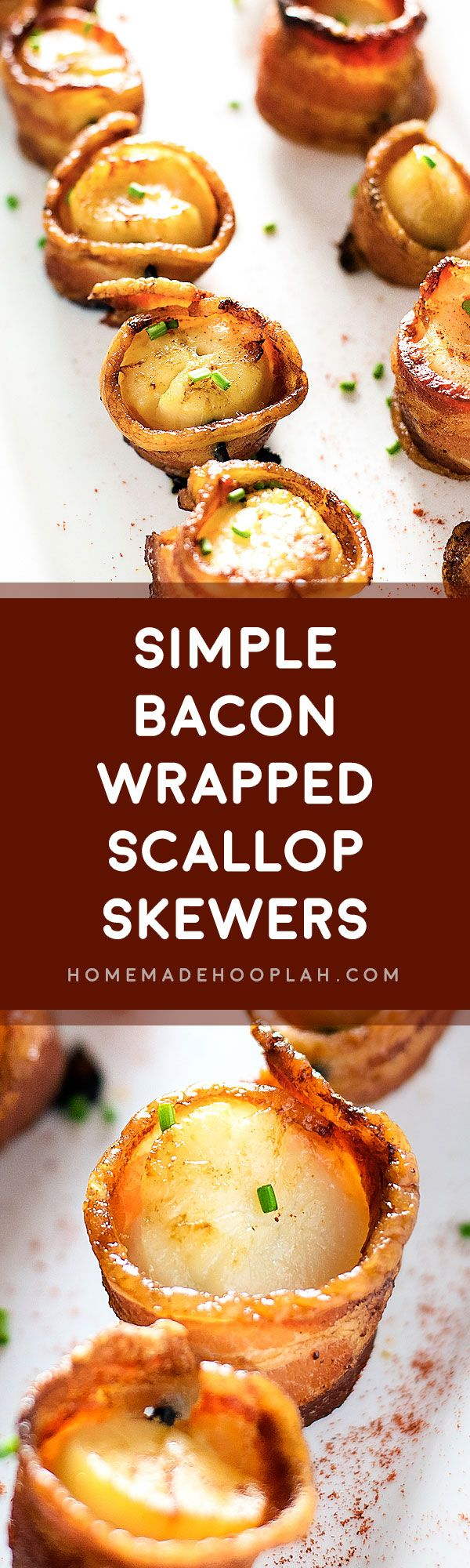 Simple Bacon Wrapped Scallop Skewers! The best combination of the land and the sea! Crispy bacon cooked around tender, juicy scallops. | HomemadeHooplah.com