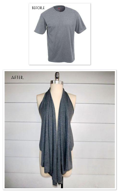 Tshirt to Vest - http://wobisobi.blogspot.com/2012/01/re-style54-five-minute-draped-vest-2.html