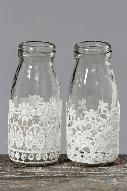 Decorative Milk Bottles with Lace