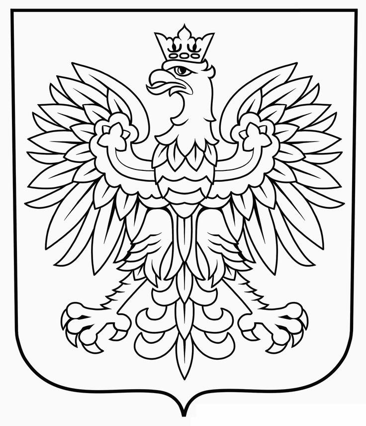 Kolorowanki: godło Polski Kolorowanki Listopad Święta i pory roku Święto Niepodległości