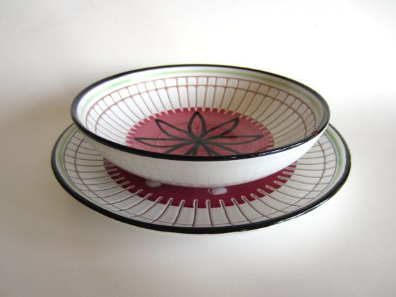 Elle Norway Bowl Plate Set Pink Green White Redware by pillowsophi, $60.00