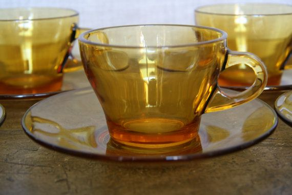 Vintage Amber Glass Teacups and Saucers Made by by FoundByHer, $40.00