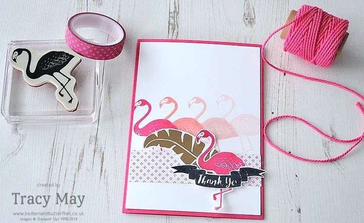 Flamingo; Pink and Gold; repeat stamping; polka dots; thank you; thanks; banner die; word die