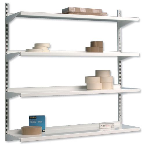 Trexus top shelf shelving unit system 4 shelves wall mounted w1000xd270xh1048mm metal storage - Wall metal shelf ...